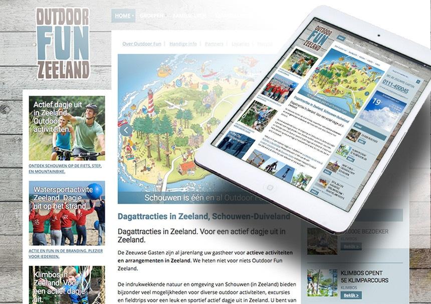 Website Outdoor Fun Zeeland door La Dolce Vita Grafische Ontwerp en webdesign uit Zeeland